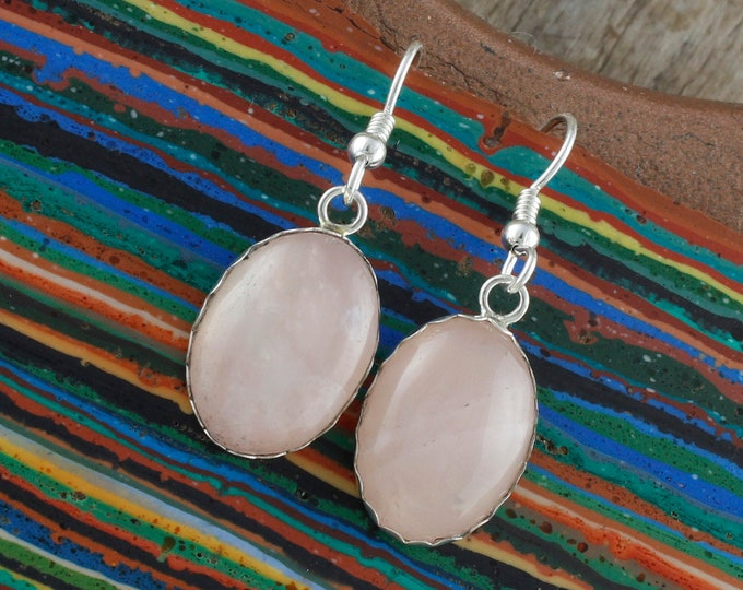Natural Rose Quartz Earrings - Silver Earrings Earrings - Rose Quartz Dangles - Dangle Earrings