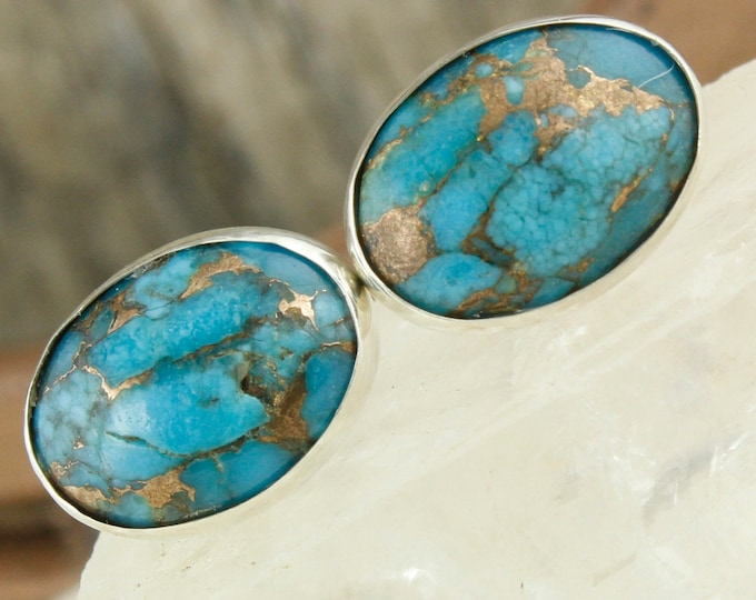 Mohave Blue Turquoise Earrings - Sterling Silver Earrings - Mohave Blue Turquoise Studs - Stud Earrings
