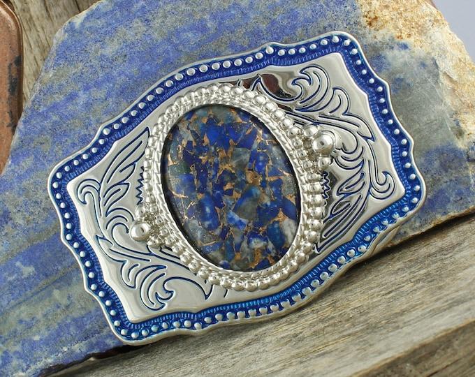 Lapis Lazuli & Bronze Belt Buckle - Western Belt Buckle - Cowboy   Belt Buckle - Boho Belt Buckle