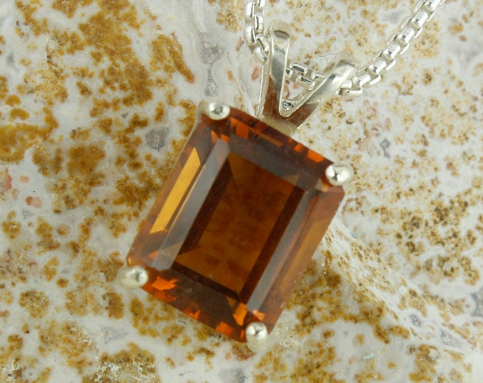 Natural Madeira Citrine Pendant - Sterling Silver Pendant Necklace - Madeira Citrine Necklace
