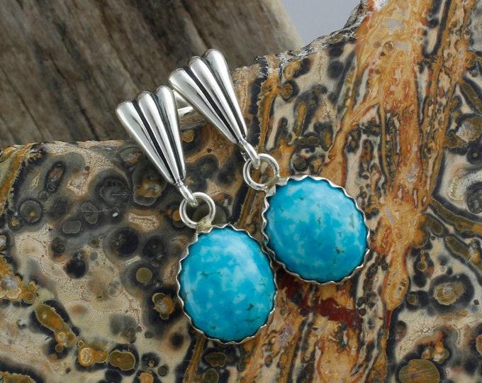 Kingman Turquoise Earrings -Sterling Silver Earrings -Blue Kingman Turquoise Dangles - Dangle Earrings