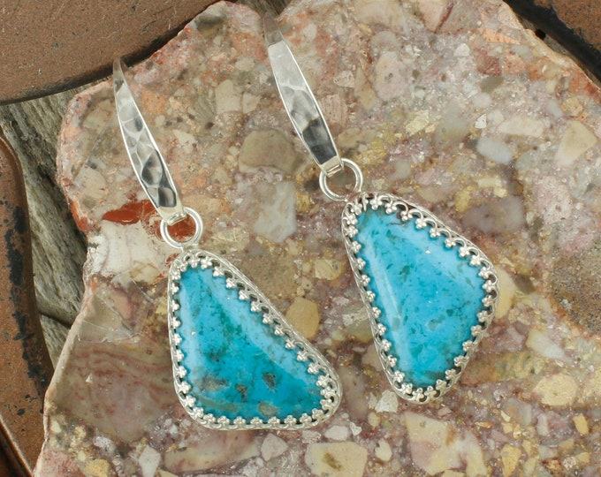 Kingman Turquoise Earrings -Sterling Silver Earrings-Blue Kingman Turquoise Dangles - Dangle Earrings