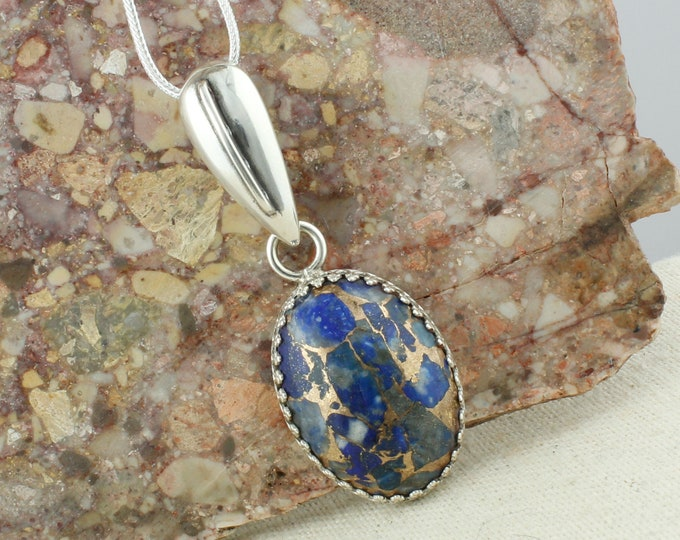 Lapis Lazuli & Bronze Pendant - Sterling Silver Pendant Necklace - Lapis Lazuli and Bronze Necklace