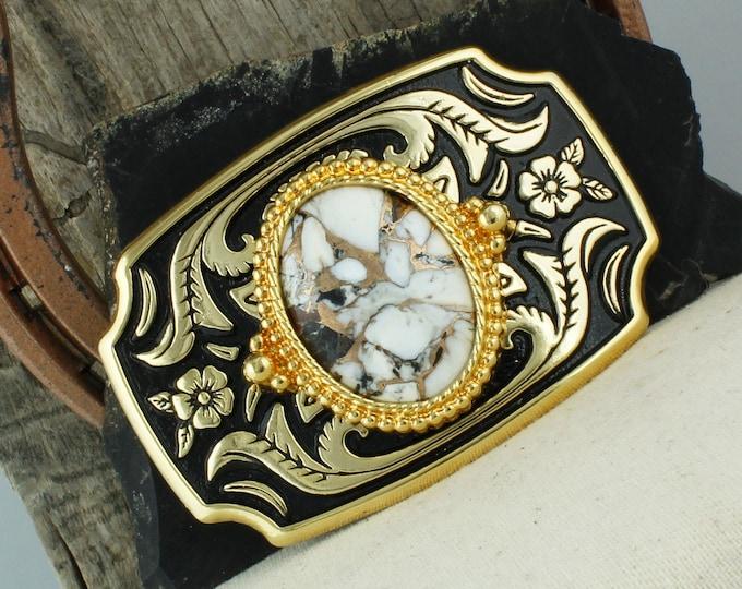 White Buffalo & Bronze Belt Buckle - Western Belt Buckle - Cowboy Belt Buckle - Boho Belt Buckle