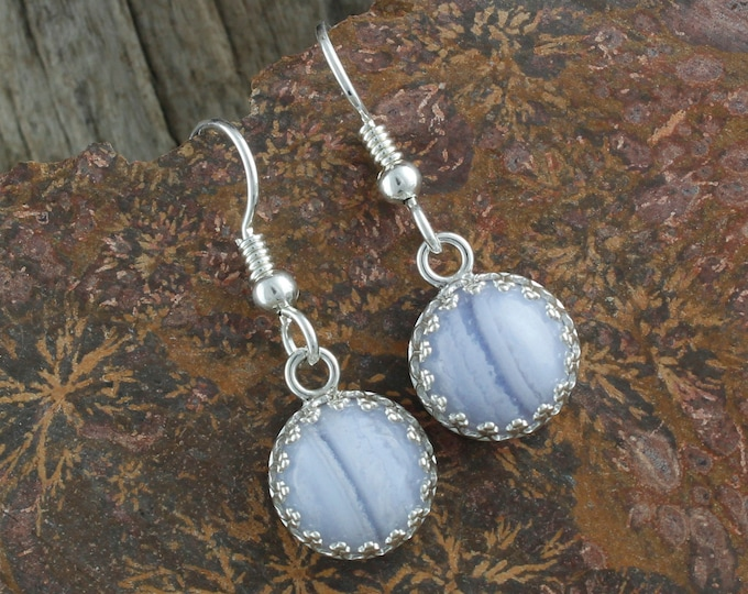 Natural Blue Lace Agate Earrings - Sterling Silver Earrings - Blue Lace Agate Dangles - Dangle Earrings