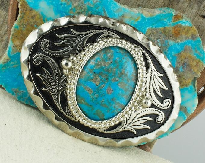 Kingman Turquoise Belt Buckle - Cowboy Belt Buckle - Western Belt Buckle - Boho Belt Buckle