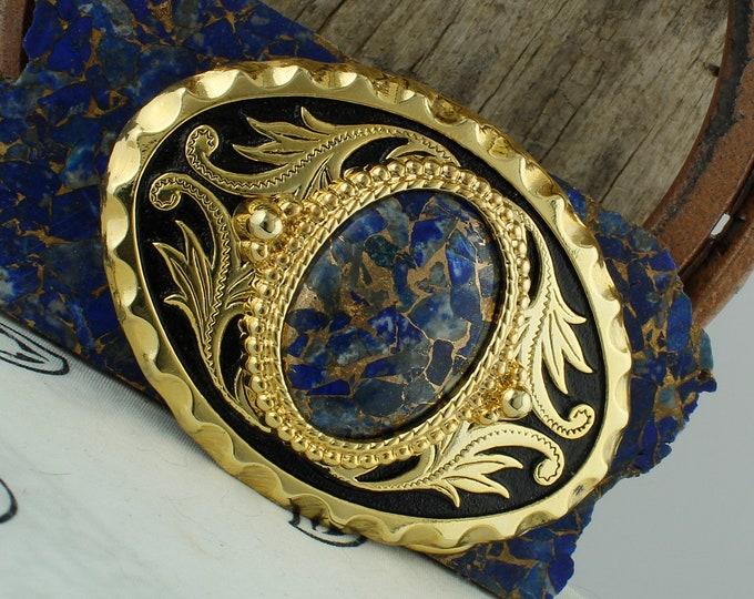 Lapis & Bronze Belt Buckle -Western Belt Buckle-Cowboy Belt Buckle - Boho Belt Buckle