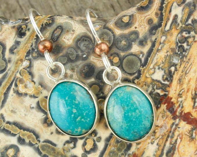 Blue Kingman Turquoise Earrings - Sterling Silver Earrings - Kingman Turquoise Dangles - Dangle Earrings