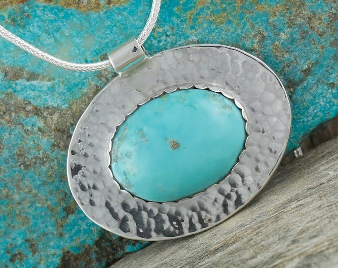 Nacozari Turquoise Pendant -Sterling Silver Pendant Necklace -Blue Turquoise Necklace