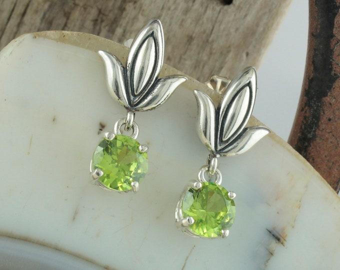 Natural Peridot Earrings -Sterling Silver Earrings -Peridot Dangles - Dangle Earrings