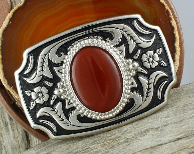 Natural Carnelian Buckle - Western Belt Buckle -Cowboy Belt Buckle - Boho Belt Buckle