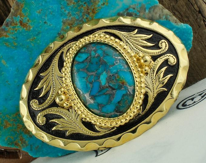 Mohave Blue Turquoise Belt Buckle -Western Belt Buckle -Cowboy Belt Buckle - Boho Belt Buckle