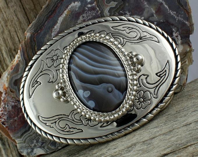 Natural Botswana Agate Belt Buckle - Western Belt Buckle - Cowboy Belt Buckle - Boho Belt Buckle