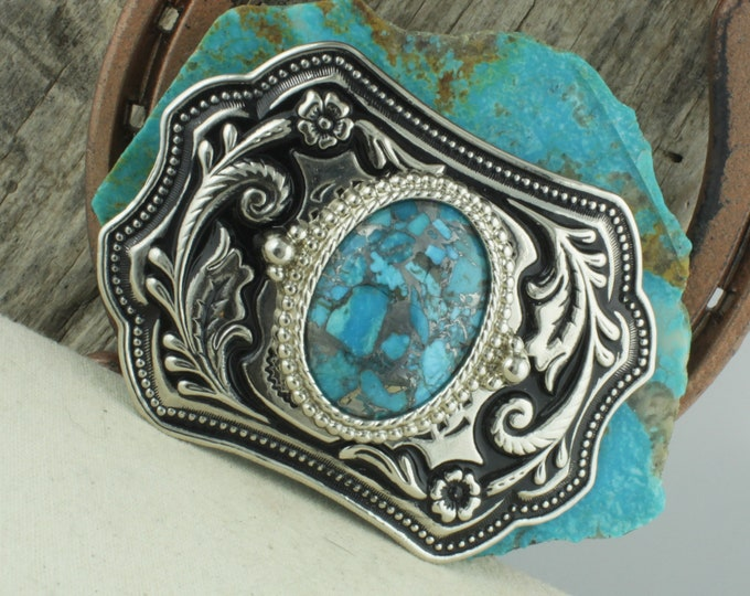 Mohave Blue Turquoise Buckle - Western Belt Buckle - Cowboy Belt  Buckle - Boho Belt Buckle