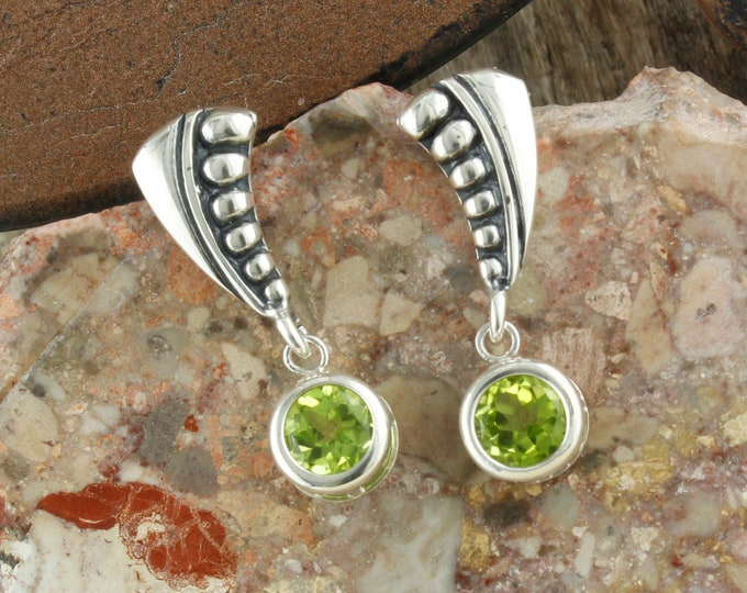 Natural Green Peridot Earrings - Sterling Silver Earrings - Green Peridot Dangles - Dangle Earrings
