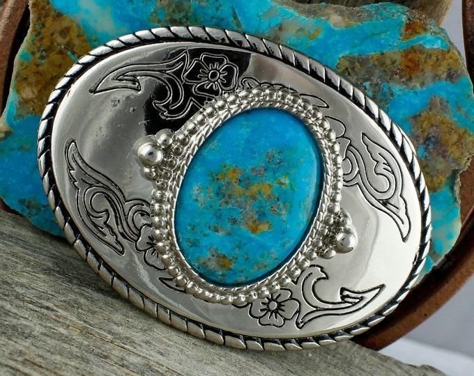 Kingman Turquoise Buckle - Cowboy Belt Buckle -Western Belt Buckle - Boho Belt Buckle