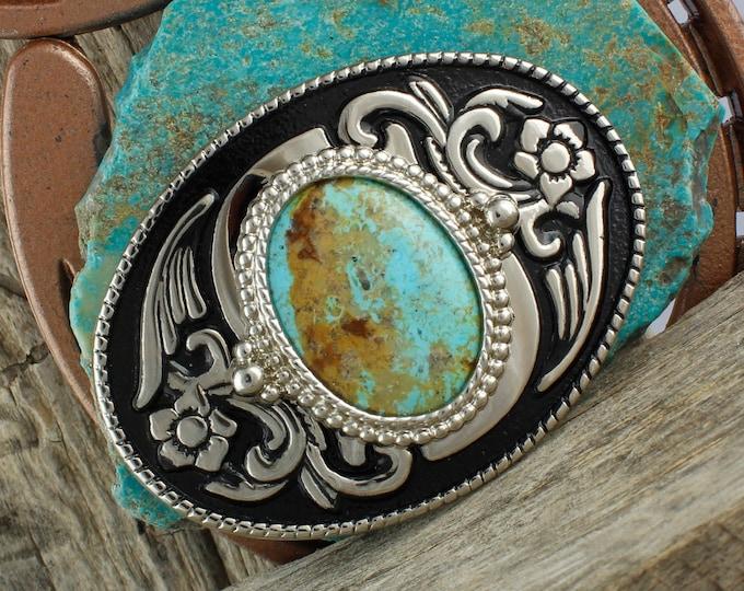 Kingman Turquoise Buckle - Western Belt Buckle -Cowboy Belt Buckle - Boho Belt Buckle