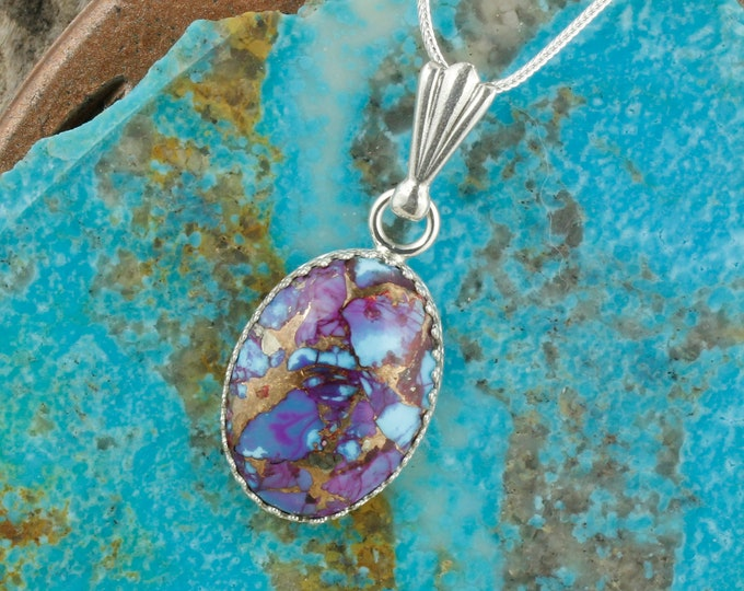 Mohave Purple Turquoise Pendant - Sterling Silver Pendant Necklace - Mohave Purple Turquoise Necklace