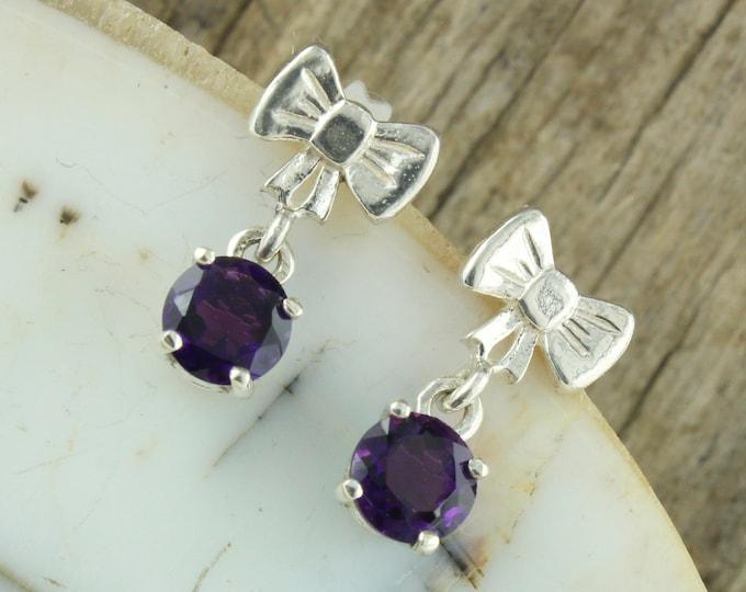 Natural Amethyst Earrings-Sterling Silver Earrings-Purple Amethyst Dangles - Dangle Earrings