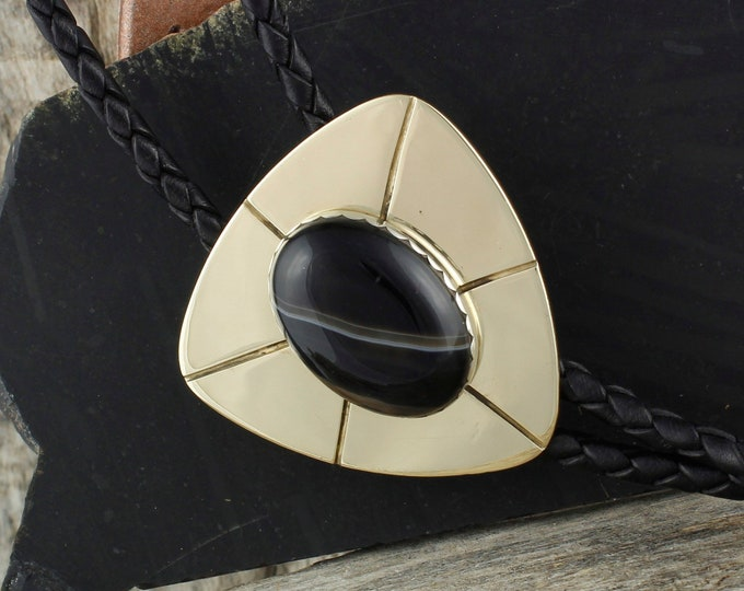 Natural Black Onyx Bolo Tie - Western Bolo Tie - Cowboy Bolo Tie - Brass Bolo Tie