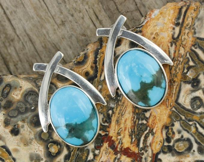 Kingman Turquoise Earrings - Sterling Silver Kingman Turquoise Earrings - Blue Turquoise Stud Earrings