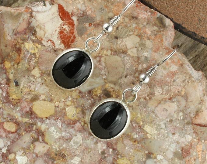 Natural Black Onyx Earrings - Sterling Silver Earrings - Black Onyx Dangles - Dangle Earrings