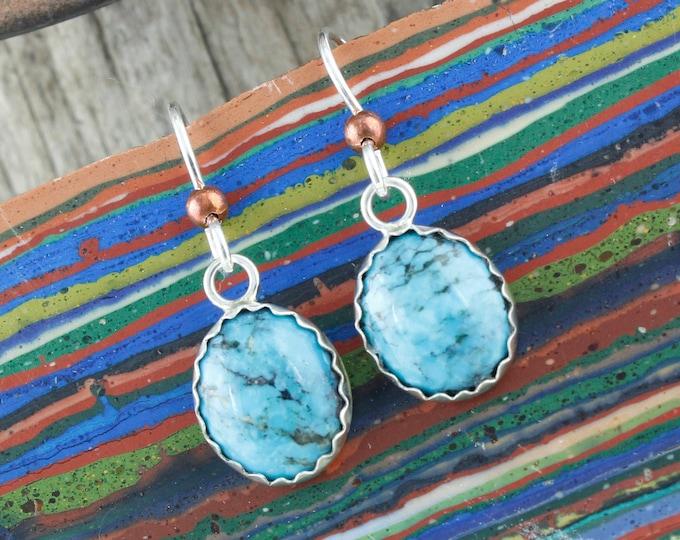 Kingman Turquoise Earrings -Sterling Silver Earrings -Blue Kingman Turquoise Dangle - Dangle Earrings