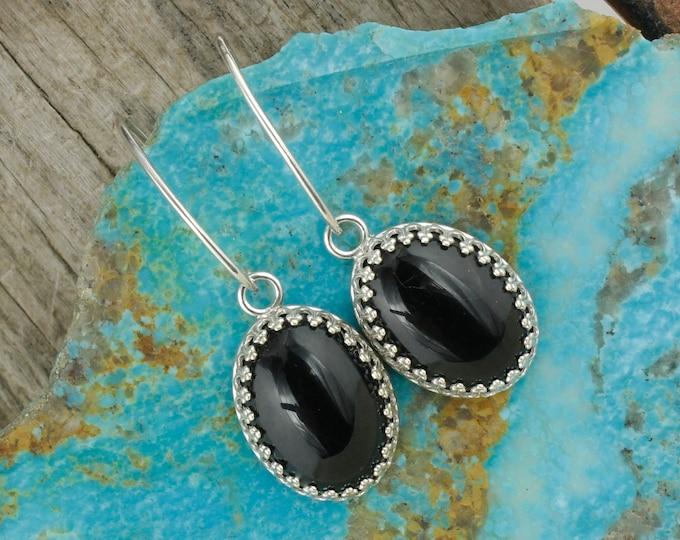 Natural Black Onyx Earrings - Sterling Silver Earrings -Black Onyx Dangles - Dangle Earrings