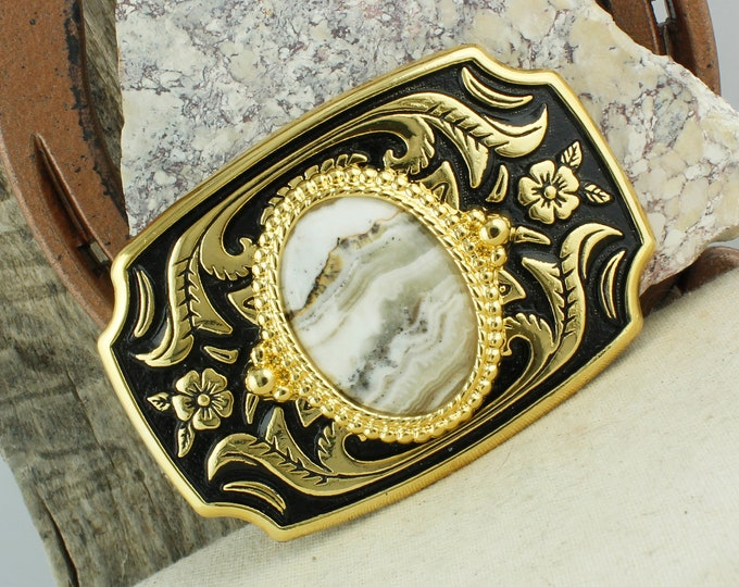 Natural Silver Lace Onyx Belt Buckle - Western Belt Buckle -Cowboy Belt Buckle - Boho Belt Buckle