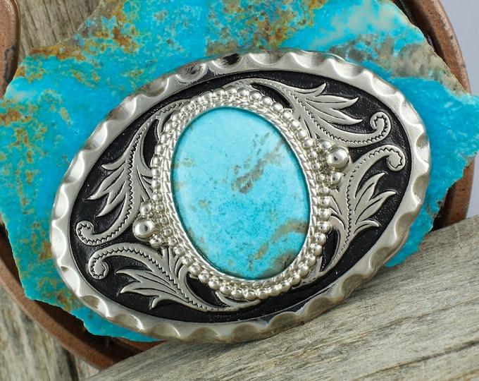 Kingman Turquoise Buckle - Western Belt Buckle -Cowboy Belt Buckle - Blue Turquoise Buckle