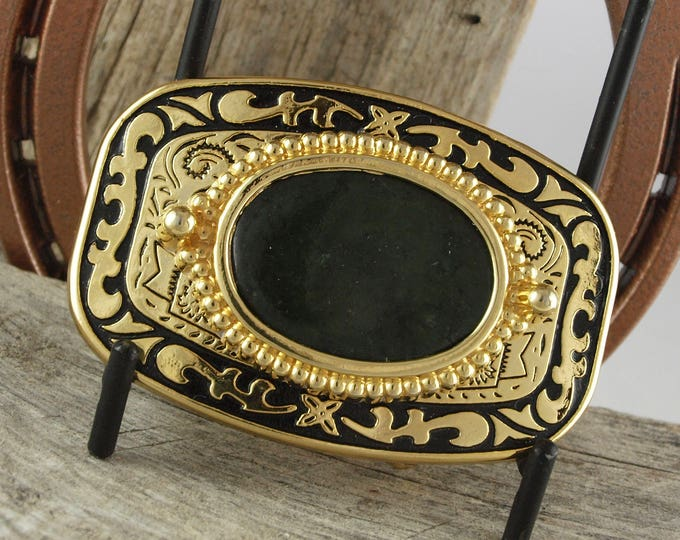 Western Belt Buckle -Natural Stone Belt Buckle -Cowboy Belt Buckle - Gold Tone and Black Belt Buckle with a Dark Green Wyoming Jade Stone
