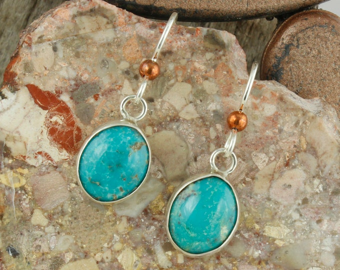 Blue Kingman Turquoise Earrings -Sterling Silver Earrings -Kingman Turquoise Dangles - Dangle Earrings