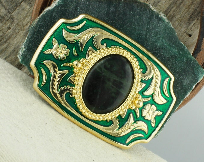 Natural Jade Belt Buckle - Western Belt Buckle -Cowboy Belt Buckle - Boho Belt Buckle