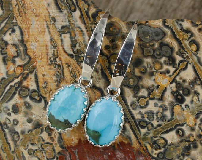 Sterling Silver Kingman Turquoise Earrings - Blue Kingman Turquoise Dangle Earrings