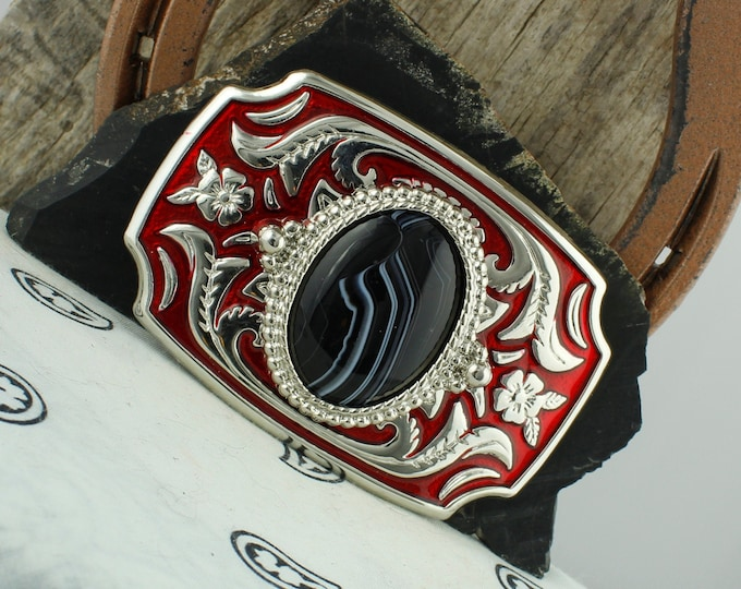 Black & White Onyx Belt Buckle - Western Belt Buckle - Cowboy Belt Buckle - Boho Belt Buckle