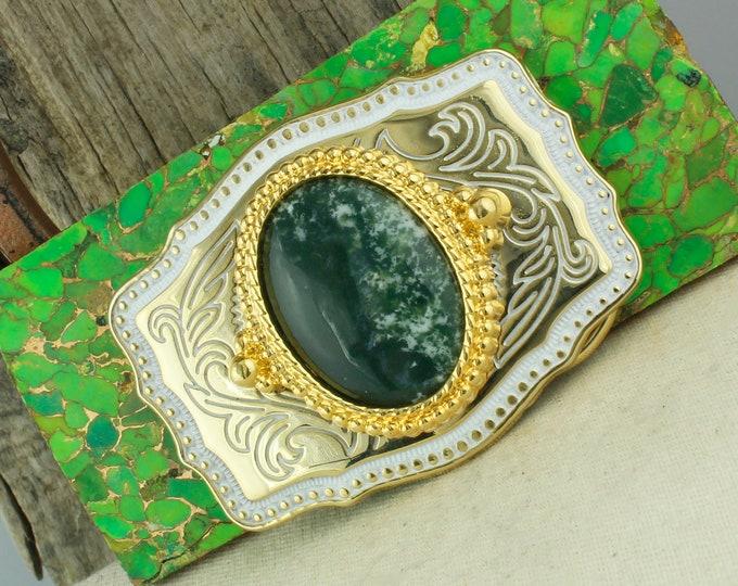 Natural Green Tree Agate Belt Buckle - Western Belt Buckle -Cowboy Belt Buckle - Boho Belt Buckle
