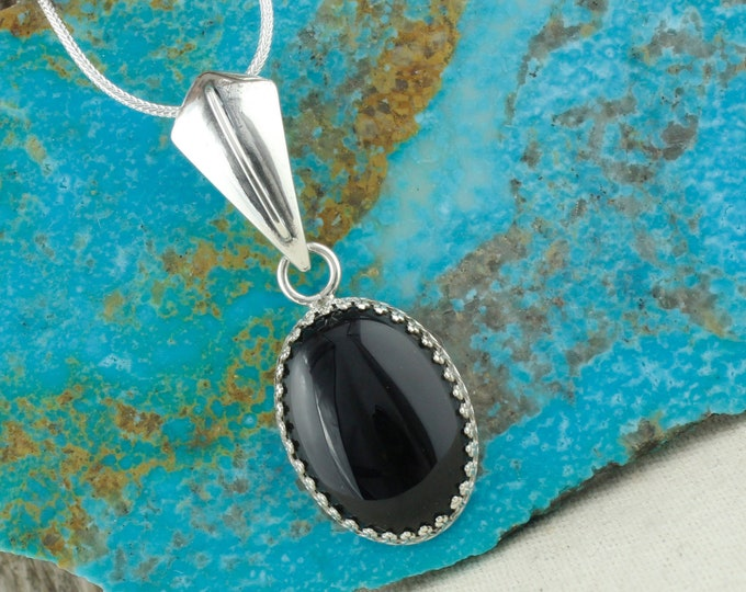 Natural Black Onyx Pendant - Sterling Silver Pendant Necklace - Natural Black Onyx Necklace