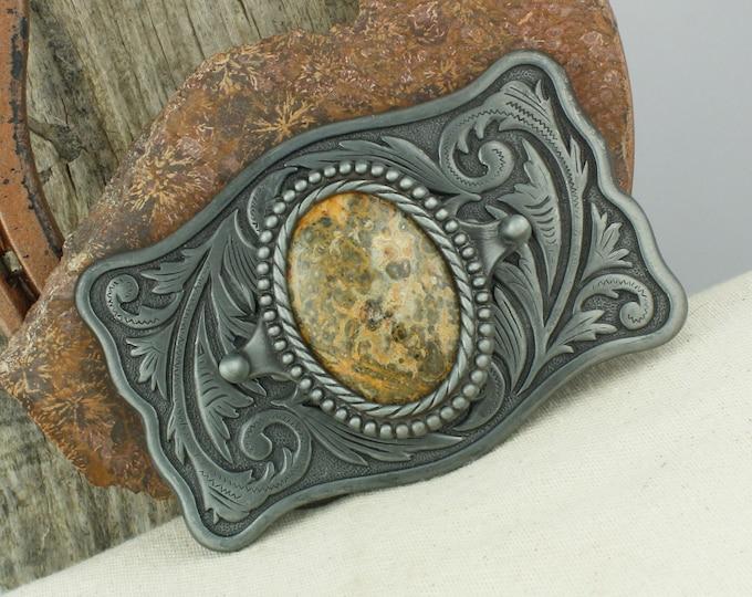 Natural Leopard Skin Jasper Belt Buckle - Western Belt Buckle - Cowboy Belt Buckle - Boho Belt Buckle