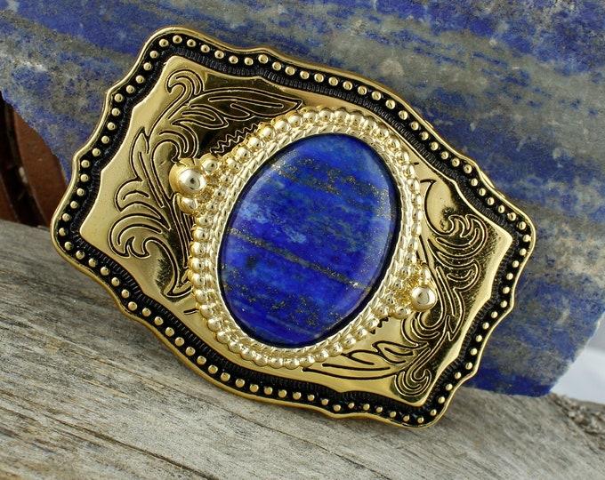 Natural Lapis Lazuli Belt Buckle -Western Belt Buckle -Cowboy Belt Buckle - Lapis Belt Buckle
