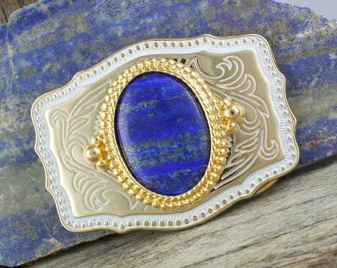 Natural Lapis Belt Buckle -Western Belt Buckle -Cowboy Belt Buckle - Lapis Lazuli Buckle