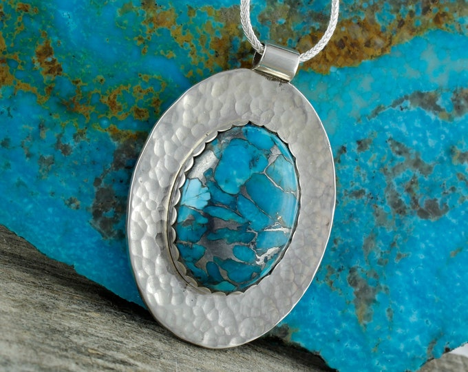 Turquoise Pendant - Silver Pendant - Turquoise Necklace - Pendant Necklace - Statement Necklace