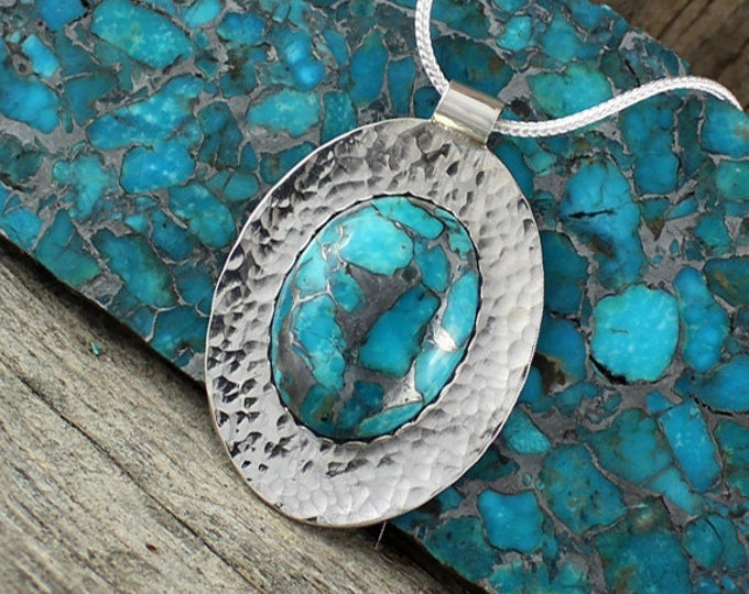 Turquoise Necklace - Silver Pendant - Turquoise Pendant -Statement Necklace - Silver Necklace - Pendant Necklace - Handmade Pendant