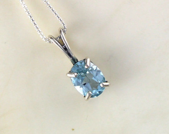 Natural Aquamarine Pendant - Silver Necklace - Blue Aquamarine Necklace - Pendant Necklace