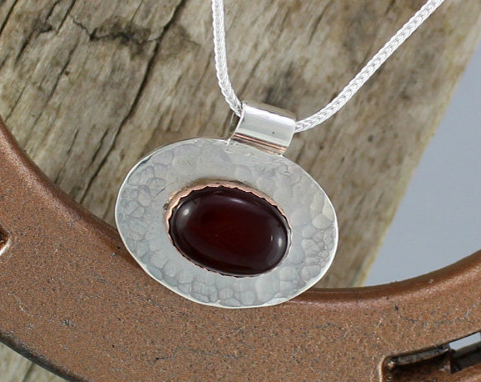 Silver Pendant - Carnelian Pendant - Carnelian Necklace - Silver Necklace - Handmade Pendant - Pendant Necklace - Statement Necklace