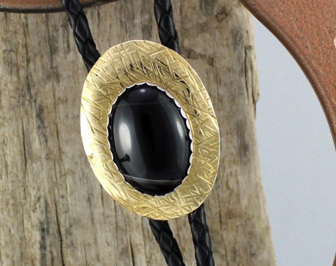 Bolo Tie - Western Bolo Tie - Black Onyx Bolo Tie - Cowboy Bolo Tie - Statement Bolo Tie - Brass Bolo Tie - Western Tie - Bolo Tie Necklace