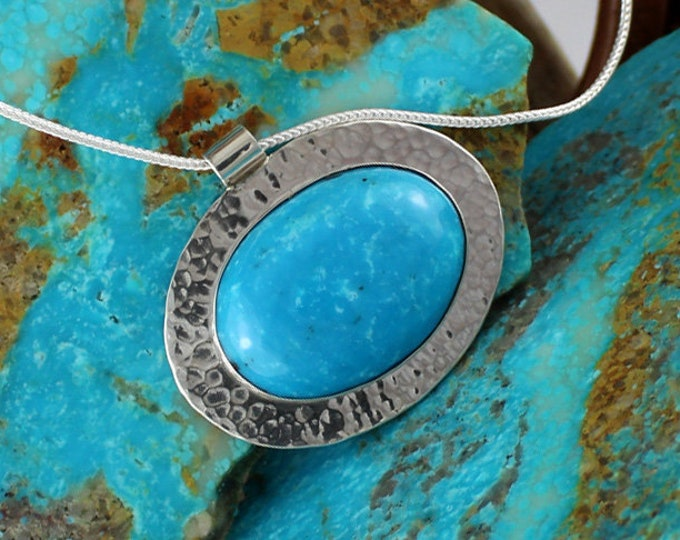 Silver Pendant- Turquoise Pendant -Turquoise Necklace -Statement Necklace - Pendant Necklace - Wedding Necklace - Handmade Pendant