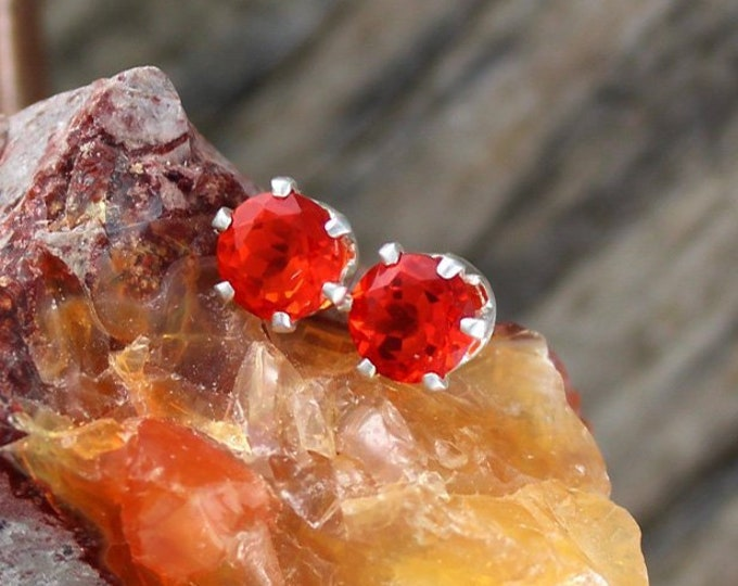 Mexican Fire Opal Earrings -Sterling Silver Earrings -Mexican Fire Opal Studs - Stud Earrings