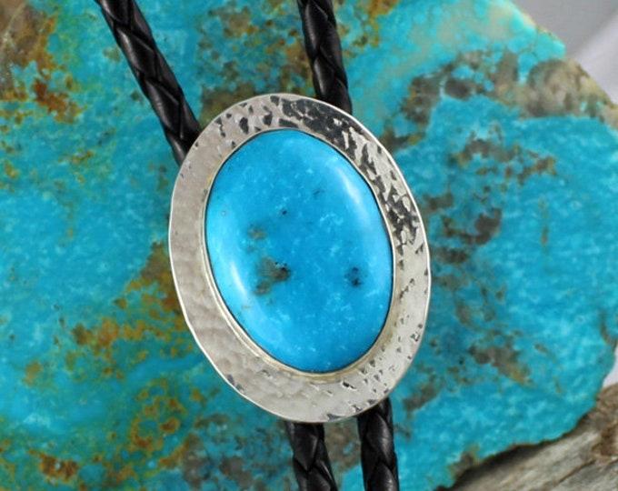 Kingman Turquoise Bolo Tie - Western Bolo Tie - Cowboy Bolo Tie Necklace - Sterling Silver Bolo Tie