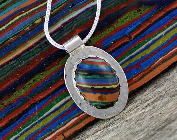 Silver Pendant - Rainbow Pendant - Pendant Necklace -  Statement Necklace - Rainbow Necklace - Wedding Necklace - Handmade Pendant