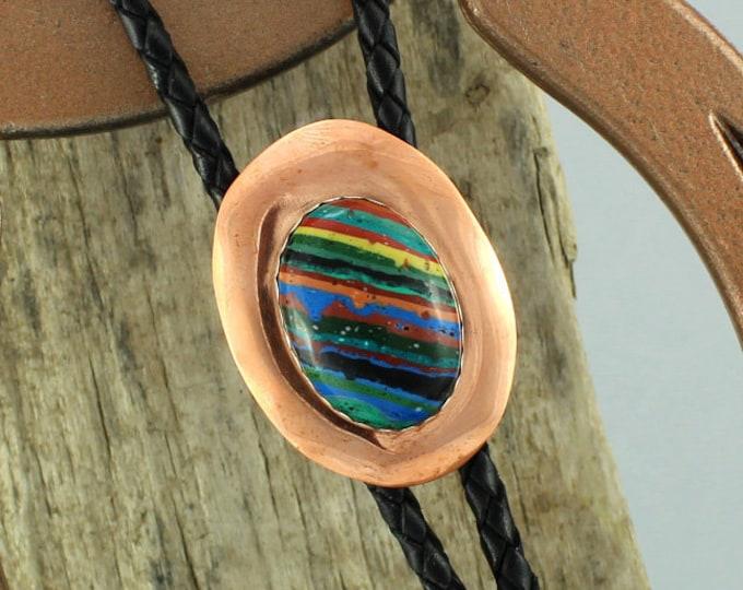 Bolo Tie - Western Bolo Tie - Rainbow Bolo Tie - Cowboy Bolo Tie - Copper Bolo Tie - Statement Bolo Tie - Western Tie - Bolo Tie Necklace